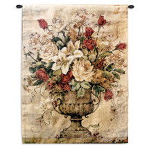 Reflections I By Barbara Mock - Woven Tapestry Wall Art Hanging For Home & Office Decor - Oriental Lilies Roses Daisies Still Life Contemporary Floral Theme - 100% Cotton - USA 32X26 Wall Tapestry