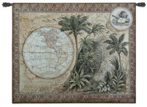 Global Safari II | Woven Tapestry Wall Art Hanging | Antique Tropical Western Hemisphere Globe Artwork | 100% Cotton USA Size 53x43 Wall Tapestry
