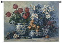 Spring Garden In Blue by Barbara Mock - Woven Tapestry Wall Art Hanging for Home & Office Decor - Contemporary Still Life In An Oriental Style With Sky Blue - 100% Cotton - USA 35X53 Wall Tapestry