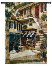 La Taverne Chez Elle By Fabrice De Villeneuve - Woven Tapestry Wall Art Hanging - French Grocery Store Romance Nostalgia Of Paris Villa - 100% Cotton - USA 53X36 Wall Tapestry