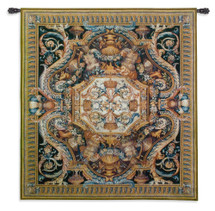 Galerie du Bord de L'Eau Wool and Cotton   Woven Tapestry Wall Art Hanging   French Equestrian Coat of Arms Geometry   100% Cotton USA Size 58x53 Wall Tapestry