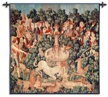 The Unicorn Is Found Wool and Cotton | Woven Tapestry Wall Art Hanging | Middle Ages Historic Tapestry Reproduction | 100% Cotton USA Size 53x53 Wall Tapestry