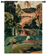 Landscape with Peacocks by Paul Gauguin | Woven Tapestry Wall Art Hanging | French Polynesian Abstract Tropical Landscape | 100% Cotton USA Size 51x37 Wall Tapestry