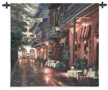 Carmen Leggio New Orleans By Betsy Brown - Woven Tapestry Wall Art Hanging For Home Living Room & Office Decor - New Orleans Cityscape Evening Street Music And Cafe Cityscape - 100% Cotton - USA 54X53 Wall Tapestry