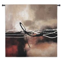 Symphony In Red and Khaki Ii by Laurie Maitland - Woven Tapestry Wall Art Hanging for Home & Office Decor - Rustic Colors Broken Tied Strings Abstract Cloud Water Element - 100% Cotton - USA Wall Tapestry