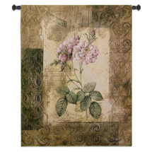 Blossoming Elegance II by Jae Dougall | Woven Tapestry Wall Art Hanging | Earthy Mixed Media Abstract Floral Artwork | 100% Cotton USA Size 53x41 Wall Tapestry