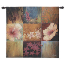Tropical Nine Patch Ii By Don Li-Leger - Woven Tapestry Wall Art Hanging For Home Living Room & Office Decor - Abstract Tropical Floral Nine Color Panels - 100% Cotton - USA Wall Tapestry