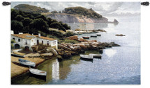Daybreak on Coast | Woven Tapestry Wall Art Hanging | Picturesque Sparkling Rocky Coast with Boathouse | 100% Cotton USA Size 53x34 Wall Tapestry