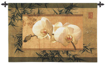 Bamboo and Orchids I by Ives McColl | Woven Tapestry Wall Art Hanging | Contemporary Asian Earthy Floral Artwork | 100% Cotton USA Size 39x26 Wall Tapestry