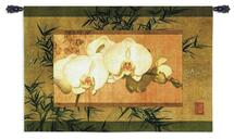 Fine Art Tapestries Bamboo And Orchids II Hand Finished European Style Jacquard Woven Wall Tapestry  USA Size 26x39 Wall Tapestry