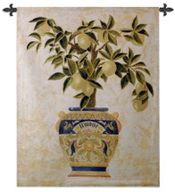 Italian Lemon Tree by Gloria Erickson | Woven Tapestry Wall Art Hanging | Ripe Citrus Tree in Mosaic Patterned Decorative Pot | 100% Cotton USA Size 53x43 Wall Tapestry