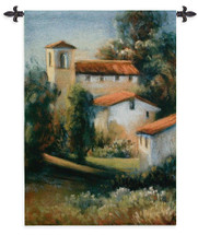 Abbazia by Carol Jessen   Woven Tapestry Wall Art Hanging   Impressionist European Manor with Trees   100% Cotton USA Size 56x38 Wall Tapestry