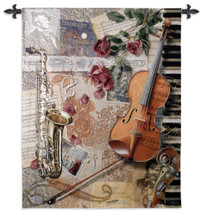 Ensemble WH | Woven Tapestry Wall Art Hanging | Music Instrument Collage with Sheet Music | 100% Cotton USA Size 52x41 Wall Tapestry