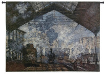 The Saint-Lazare Station by Claude Monet | Woven Tapestry Wall Art Hanging | Dark Industrial Post-Impressionist Train  Station Masterpiece | 100% Cotton USA Size 53x40 Wall Tapestry