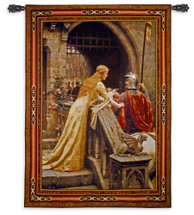 Godspeed by Edmund Blair Leighton | Woven Tapestry Wall Art Hanging | Medieval Lady with Arthurian Knight | 100% Cotton USA Size 53x40 Wall Tapestry