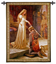 The Accolade by Edmund Blair Leighton - Woven Tapestry Wall Art Hanging for Home & Office Decor - Medieval Knight Fantasy - Majestic Prince& Princess Arthurian Renaissance Themed - 100% Cotton - USA Wall Tapestry