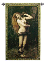 Lilith by John Collier | Woven Tapestry Wall Art Hanging | Victorian Classic of Babylonian Talmud Mythology | 100% Cotton USA Size 62x35 Wall Tapestry