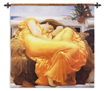 Flaming June by Sir Frederic Leighton | Woven Tapestry Wall Art Hanging | Sleeping Woman Orange Gown Masterpiece | 100% Cotton USA Size 53x53 Wall Tapestry