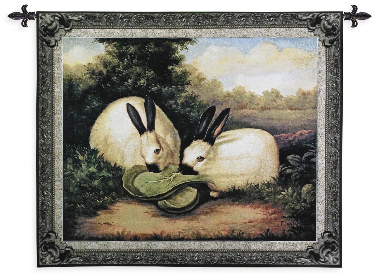 Two Himalayan Rabbits By Barrett Overall Woven Tapestry Wall Art Hanging Rabbit Pair Eating Lettuce On Floral Mountainous Landscape 100 Cotton Usa Size 53x43
