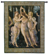 Primavera The Three Graces By Sandro Botticelli - Woven Tapestry Wall Art Hanging For Home Living Room & Office Decor - Allegory Of Spring Renaissance Themes - 100% Cotton - USA Wall Tapestry
