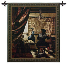 The Art of Painting by Vermeer - Woven Tapestry Wall Art Hanging for Home & Office Decor - The Allegory of Painting Or Painter In His Studio 17Th-Century Oil Turned Textile - 100% Cotton - USA 53X45 Wall Tapestry