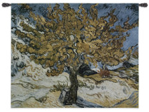 The Mulberry Tree by Vincent Van Gogh | Woven Tapestry Wall Art Hanging | Flaming Post Impressionist Foliage | 100% Cotton USA Size 53x44 Wall Tapestry