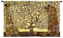 Stoclet Frieze by Gustav Klimt - Woven Tapestry Wall Art Hanging for Home & Office Decor - Tree of Life Wisdom Embraced Woman with Warm Swirl Shape Patterns - 100% Cotton - USA 34X53 Wall Tapestry