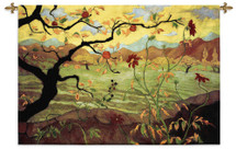 Apple Tree With Red Fruit By Paul Ranson - Woven Tapestry Wall Art Hanging For Home Living Room & Office Decor - Asian Influence Warm Colors Apple Tree Hillside Lake Artwork - 100% Cotton - USA Wall Tapestry