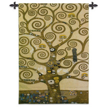 Stoclet Frieze Tree Of Life By Gustav Klimt  - Woven Tapestry Wall Art Hanging For Home Living Room & Office Decor - Gold Mosaic Abstract Motif Tree Of Wisdom - 100% Cotton - USA 48X35 Wall Tapestry