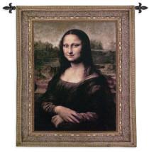 Mona Lisa by Leonardo da Vinci   Woven Tapestry Wall Art Hanging   La Gioconda Famous Renaissance Masterpiece   100% Cotton USA Size 53x43 Wall Tapestry
