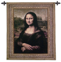 Mona Lisa by Leonardo da Vinci | Woven Tapestry Wall Art Hanging | La Gioconda Famous Renaissance Masterpiece | 100% Cotton USA Size 53x43 Wall Tapestry