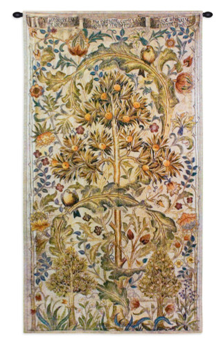Summer Quince by William Morris   Arts and Crafts Style Woven Tapestry Wall Textile Art   Elaborate Tree Pattern   100% Cotton USA Size 68x35 Wall Tapestry
