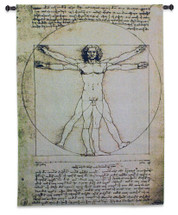 Vitruvian Man By Leonardo Da Vinci - Woven Tapestry Wall Art Hanging - L'Uomo Vitruviano The Proportions Of The Human Body According To Vitruvius - 100% Cotton - USA 53X37 Wall Tapestry