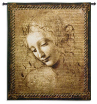 """Head of a Woman by Leonardo da Vinci   Woven Tapestry Wall Art Hanging   Renaissance Oil Painting Masterpiece """"La Scapigliata""""   100% Cotton USA Size 53x45 Wall Tapestry"""