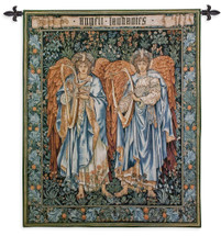 Angeli Laudantes by Sir Edward Coley | Woven Tapestry Wall Art Hanging | Salisbury Cathedral Two Angels on Stained Glass | 100% Cotton USA Size 53x44 Wall Tapestry
