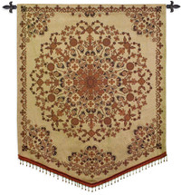 India Golden   Woven Tapestry Wall Art Hanging   Gold Tan Intricate Floral Mandala   100% Cotton USA Size 53x42 Wall Tapestry