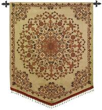 India Golden | Woven Tapestry Wall Art Hanging | Gold Tan Intricate Floral Mandala | 100% Cotton USA Size 53x42 Wall Tapestry