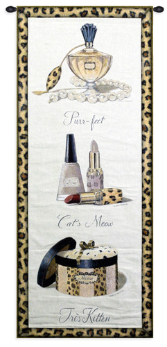 Meow by Marco Fabiano - Woven Tapestry Wall Art Hanging for Home & Office Decor - Still Life Depictions of Objects ofa Lady's Dressing Table Turned Into Textile Art - 100% Cotton - USA 52X26 Wall Tapestry