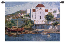 Mykonos II by George W. Bates | Woven Tapestry Wall Art Hanging | Impressionist Greek Waterfront Painting | 100% Cotton USA Size 53x40 Wall Tapestry