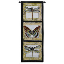 Butterfly Dragonfly Ii - A Vertical Arrangement Of A Butterfly And Two Dragonflies - Woven Tapestry Wall Art Hanging For Home Living Room & Office Decor - Nature Display Specimen - 100% Cotton - USA 49X18 Wall Tapestry