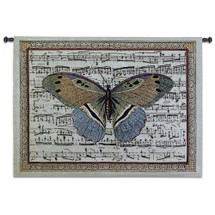 Butterfly Dance II | Woven Tapestry Wall Art Hanging | Antique Butterfly on Sheet Music Score Background | 100% Cotton USA Size 53x41 Wall Tapestry