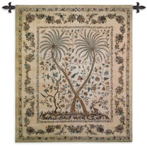 Palampore | Woven Tapestry Wall Art Hanging | Pair of Palms with Intricate Floral Pattern | 100% Cotton USA Size 53x46 Wall Tapestry