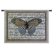 Butterfly Dance II | Woven Tapestry Wall Art Hanging | Antique Butterfly on Sheet Music Score Background | 100% Cotton USA Size 36x27 Wall Tapestry