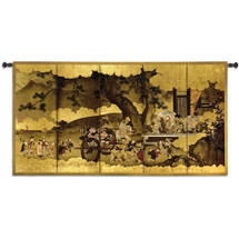 Seven Gods of Good Fortune and Chinese Children | Woven Tapestry Wall Art Hanging | Japanese Edo Period Folding Panel Ink Artwork | 100% Cotton USA Size 53x28 Wall Tapestry