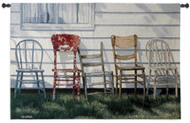 Row Of Chairs - Woven Tapestry Wall Art Hanging For Home Living Room & Office Decor - Four Chairs Still Life Along Home Rustic Home Decoration - 100% Cotton - USA Wall Tapestry