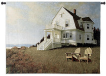 Oceanfront View | Woven Tapestry Wall Art Hanging | Private Coastal Home on Grassy Hill | 100% Cotton USA Size 53x40 Wall Tapestry