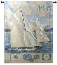 Naples | Woven Tapestry Wall Art Hanging | Two Sailboats on Vintage Mediterranean Travel Poster | 100% Cotton USA Size 52x41 Wall Tapestry