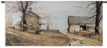 Spring Thaw by John Rossini | Woven Tapestry Wall Art Hanging | Puddled Roadway at Old Farm House Promise of Spring | 100% Cotton USA Size 53x25 Wall Tapestry