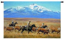 Homeward Bound by Reginald Jones | Woven Tapestry Wall Art Hanging | Cowboys Herding Cattle on Majestic Golden Western Golden | 100% Cotton USA Size 53x34 Wall Tapestry