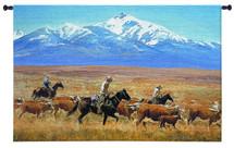 Homeward Bound By Reginald Jones - Woven Tapestry Wall Art Hanging - Cowboys Herding Cattle Golden Open Range Western Landscape Artwork - 100% Cotton - USA 34X53 Wall Tapestry